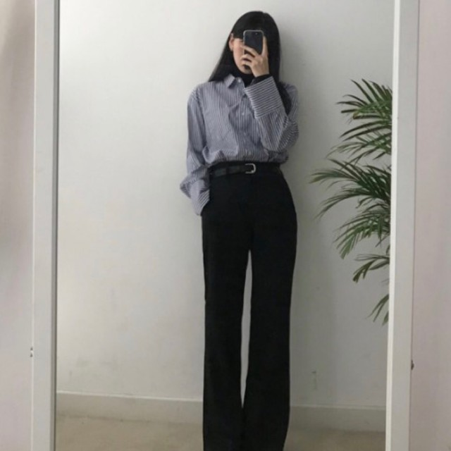 블랙업-러트세미부츠컷 슬렉스 (블랙) - 상품이미지