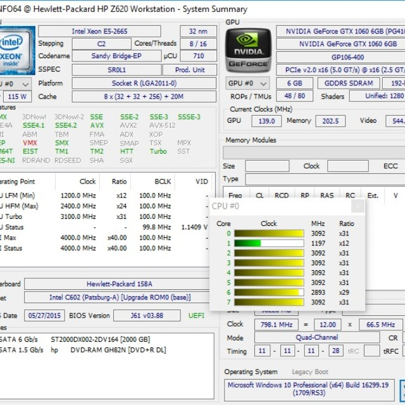 HP Z620 2x E6-2665 GTX1060 6Gb 32gb RAM